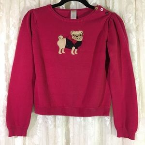 Gymboree Girls Pug  Hot Pink Sweater
